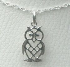 """925 Sterling Silver Owl Pendant + 18"""" Trace Chain Necklace - Gift Bag"""