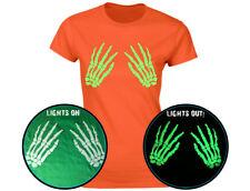 Skeleton Hands Front Glow In The Dark Womens Halloween T-Shirt (12 Colours)