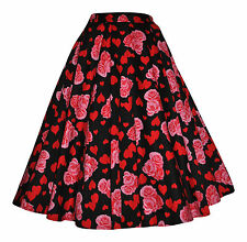 Vintage 40's 50's Full Circle Hearts & Roses Rockabilly Jive Swing Skirt 10 - 20