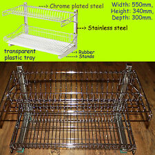 Stainless Steel Chrome Dish Cutlery Plates Drainer Rack Drip Tray Dryer Holder