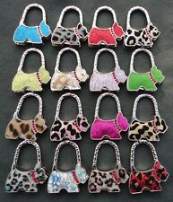 Glitter Sparkle Crystal Westie Dog Folding Handbag Bag Purse Holder Hook Hanger