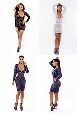 Ladies Lace Party Evening Dress Sexy Cocktail Bodycon Size 10 12 14 16 M L XL