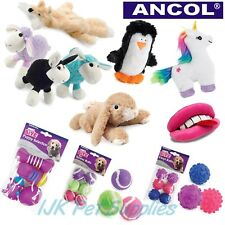 Ancol Small Bite Dog Puppy Stuffing free plush squeaky vinyl or tennis ball toy