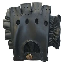 Real leather half finger driving gloves soft motorbike bus retro style 310 black