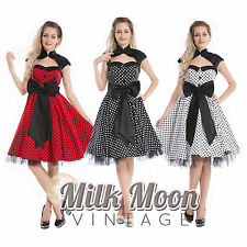 Vintage Anni 50 Anni '60 Rockabilly Swing Nero Bianco Rosso A Pois
