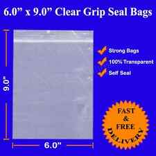 "Grip Seal Resealable Self Seal Clear Polythene Plastic Bags 6"" x 9"" Cheapest 6x9"