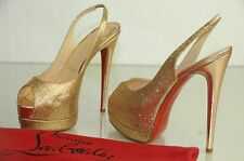 New Christian Louboutin Gold Glitter PALAIS Royal 140 Double Platform Shoes 41