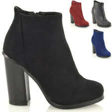 NEW LADIES BLOCK MID HIGH HEEL CHUNKY BOOTIES WOMENS ANKLE BOOTS SHOES SIZE 3-8