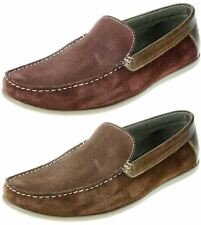 Mens Red tape burgundy brown slip on leather suede Boat loafer shoes