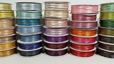 "1/8"" Satin Ribbon Gold / Silver Edge - 50 Yards"