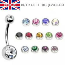 316L Surgical Steel Double Crystal Gem Belly Button Navel Bar - UK SELLER