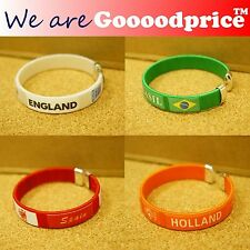 BRAZIL WORLD CUP 2014 FOOTBALL WRIST BANDS BRACELET Brazil England Holland Spain
