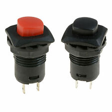 Square Base Momentary Off(On) Push Button Switch Red or Black SPST Car Dash 12V