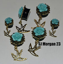 Blue Rose & Bird Pendant Ear Ring Flare Stretcher Plug in sizes 10 22 mm
