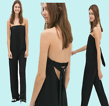 ZARA Black Strapless Loose Flowy Long Jumpsuit size-XS/S/M/L  SOLD OUT IN SHOPS