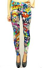 Womens Ladies Girls Comic Print Leggings Kapow Graffiti UK Size 8 10 12 14 SM ML
