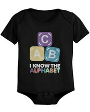 ABC Alphabet Cute Baby Bodysuit - Pre-Shrunk Cotton Snap-On Style Baby
