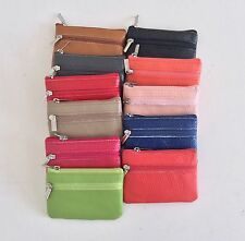 Small real leather bag/pouch/wallet/coin/purse/new/zip 11 colours