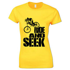 Ride And Seek Downhill MTB Mountain Bike Freeride Cycling Bicycle Womens T Shirt