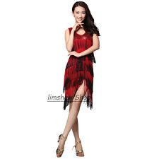 Women Sequin Tassels Latin Dress Deep V-Neck Cocktail Party Ballroom Dance Wear