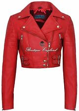 Ladies Biker Short Body Leather Jacket RED Biker Style 100% REAL LEATHER 5625