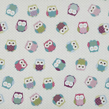 Blue Red Pink & Green Owls Oilcloth Wipeclean PVC Vinyl Tablecloth All Sizes