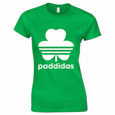 St Patricks Day Paddidas Fun Shamrock Seamróg 3 Leaf Clover Irish Womens T Shirt