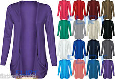 Womens Plus Size Drop Pocket Boyfriend Open Cardigan Tops Long Sleeves Casual