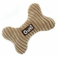 New Crufts puppy Dog Pet Chew Playtoy Soft Squeeky Bone Tough Assorted Colours