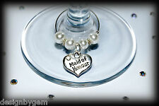 Rhinestone heart Wedding role top table wine glass charms . Favor and table decs
