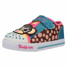 "GIRLS SKECHERS MULTI-COLOURED TRAINERS W/FLASHING LIGHTS ""CRITTER BUDS"""