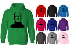 Womens Frankenstein Face Horror Movie Icon Pullover Hoodie NEW UK 12-20