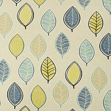 Blue, Beige And Yellow Leaves Oilcloth Wipeclean PVC Vinyl Tablecloth All Sizes