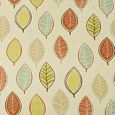 Terracotta, Olive and Duck Egg Leaves Oilcloth Wipeclean PVC Vinyl Tablecloth