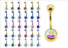 DOUBLE CZ CRYSTAL GEM TITANIUM BELLY / NAVEL BAR RING 8mm 10mm or 12mm  BAR