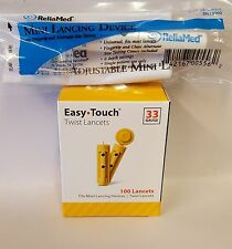 100 Easy Touch Sterile 33 Gauge Lancets + Reliamed Adjustable Lancing Device