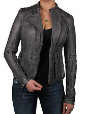 Brandslock Womens Genuine Leather Biker Jacket Vintage Croc