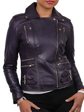 Brandslock Womens Genuine Sheepskin Leather Biker Jacket Vintage Retro Rock