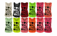 New Womens Vest Top YOLO Print Ladies Sleeveless Racer Muscle T-Shirt