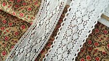 1 M Vintage Cotton white Crochet Style Scalloped Pretty Floral Lace Trim Ribbon