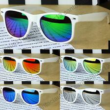 Classic Square Shape Sunglasses White Frame Mirror Lenses  Mens Women's UV400