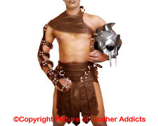 Mens Roman Gladiator Kilt BROWN Real Cow Leather Set LARP
