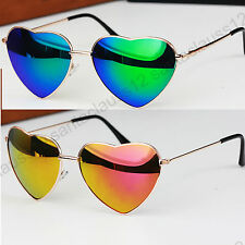 Heart Shape Sunglasses Mirror Lenses Metal Frame UV400 Women's occhiali da sole