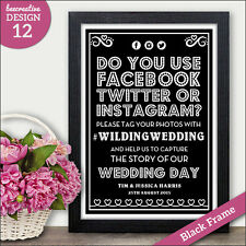 PERSONALISED Wedding Signs Facebook Twitter Instagram Social Chalkboard Vintage