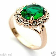 Stile Beautiful 18K Rose Gold Plated Imitation Diamond Green Ring Women
