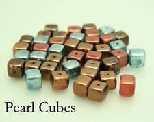 35 Blue/Brown/Copper Czech Glass Pearl Cube Beads Jewellery Making Size (mm) 8