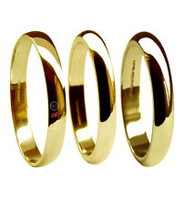 2mm 18ct Yellow Gold D Shape Wedding Rings UK HM 750 Light Medium Heavy Bands