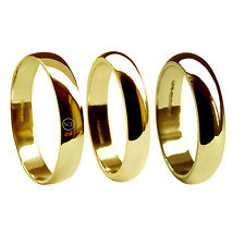 4mm18ct Yellow Gold D Shape Wedding Rings Profile Bands 750 UK Hallmarked NEW