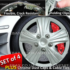 Universal Crack Resistant, Folding Clips Car Wheel Trims Hub Covers Set of 4. CH