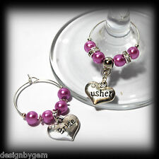 Beautiful Lilac Frost wedding wine glass charms for top table or favours decor